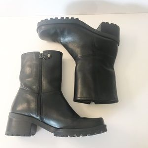 Tommy Hilfiger Black Leather Moto Boot